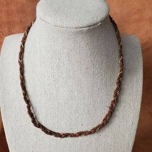 Brown leather gold chain braided necklace